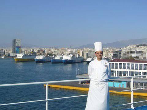 Franco Lania, ocean-going chef, in Pireaus, Greece