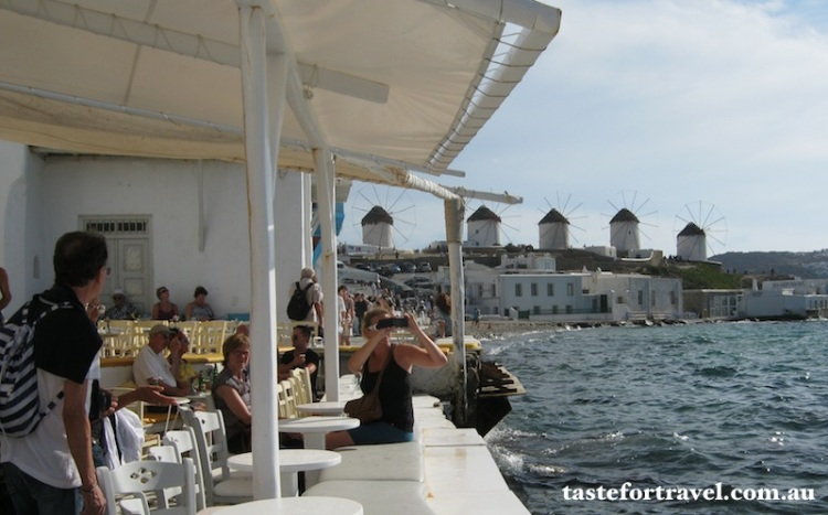 Beachfront cafe on Mykonos September