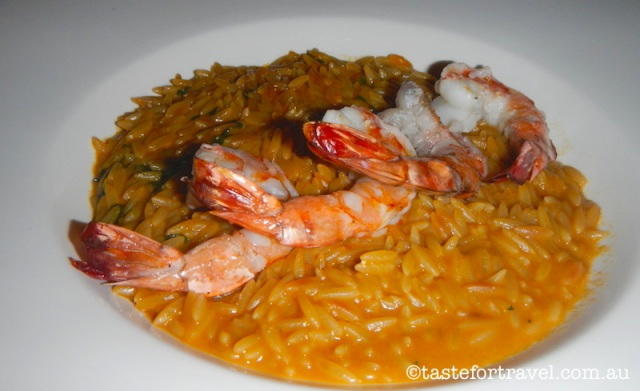 New Greek food, Seafood orzo pasta, Vassilenas