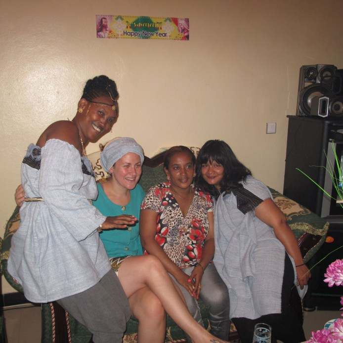 Delaine with her friends in Ethiopia
