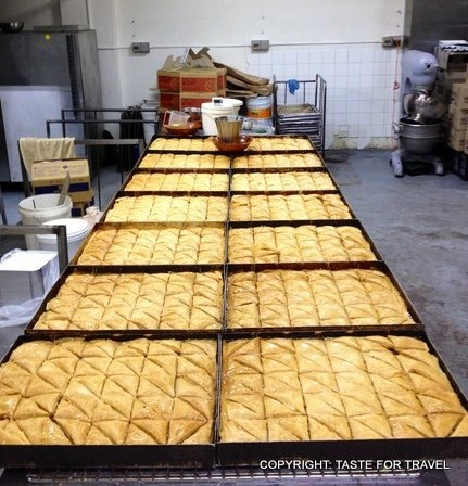 Trays of freshly-baked baklava for Greek Easter