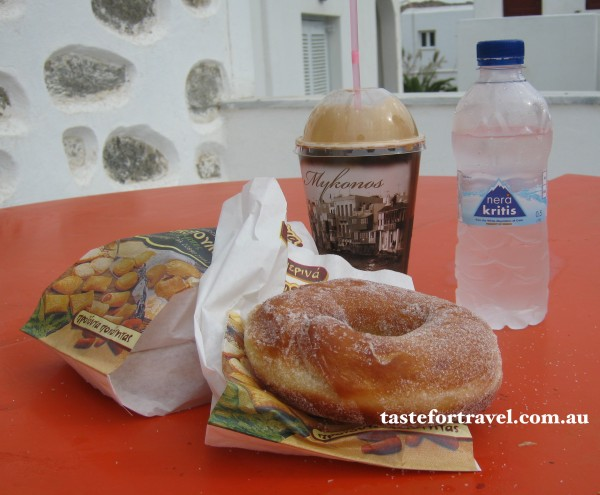 Donut and frappe breakfast on Mykonos