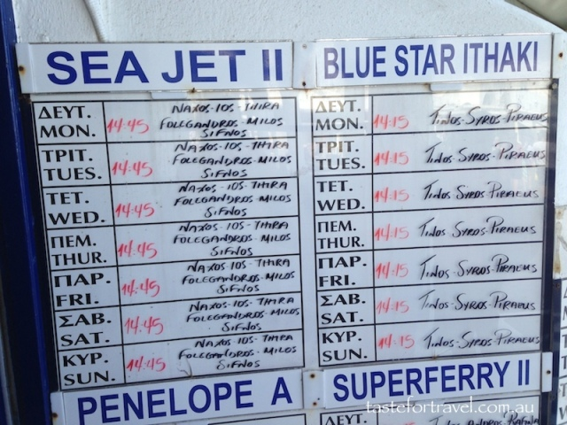 Ferry timetable, Cyclades